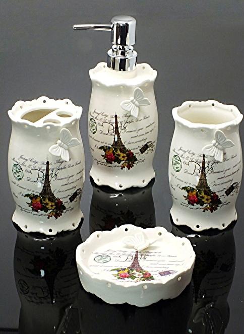 Mizzy Home Porselen Kelebekli 4 Parça Banyo Seti Renkli
